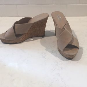 Charles brushed fabric wedge sandals.